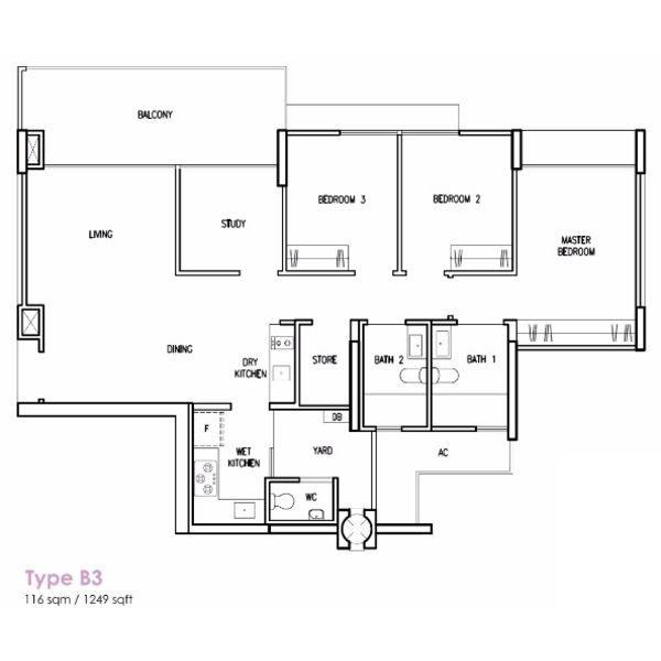 Treasure Crest Floorplan 3+Study