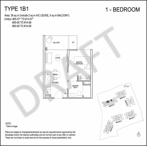 1 Bedroom Floor Plan Grandeur Park Residences