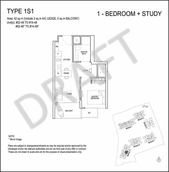 1 plus Study Floor Plan Grandeur Park Residences