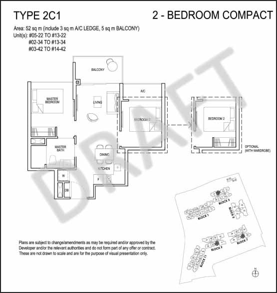 2 Bedroom Floor Plan Grandeur Park Residences