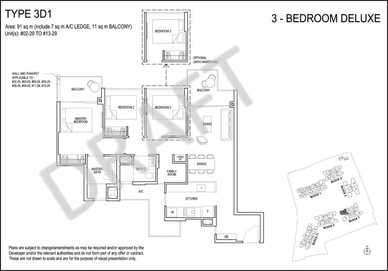 3 Bedroom Deluxe Floor Plan Grandeur Park Residences