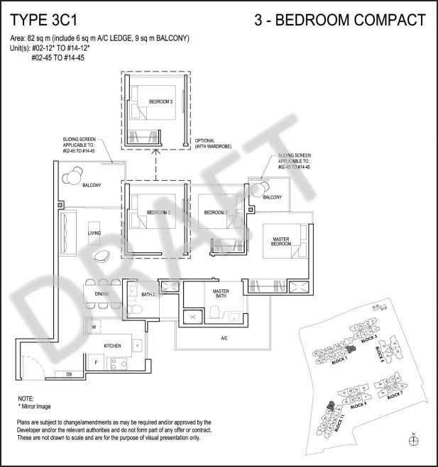 3 Bedroom Floor Plan Grandeur Park Residences