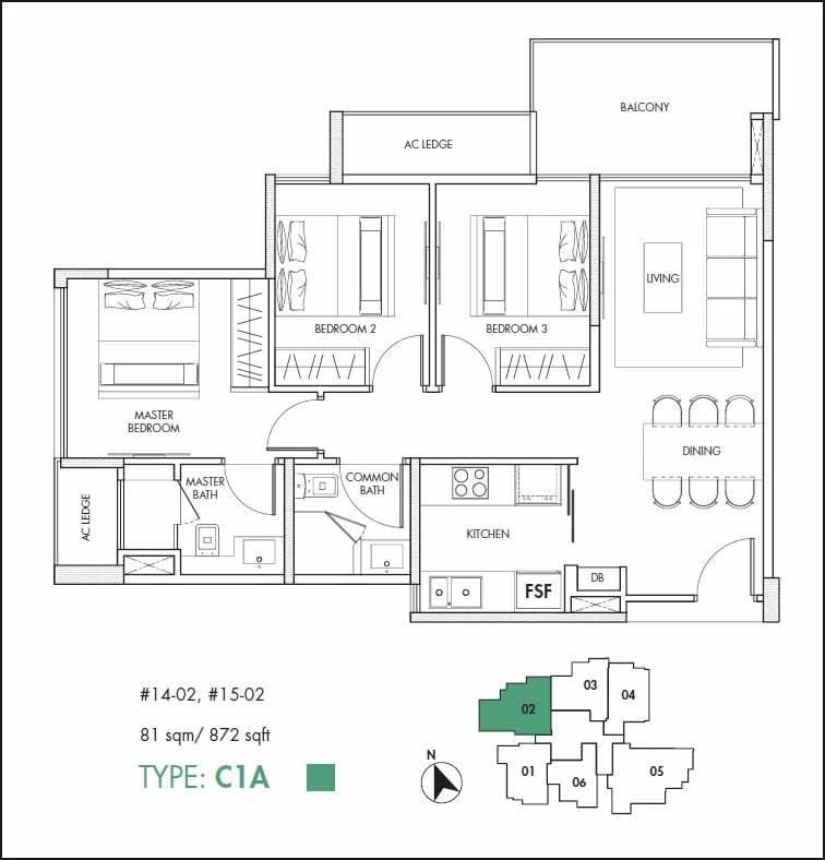 12 on Shan Floor Plan 3 Bedroom