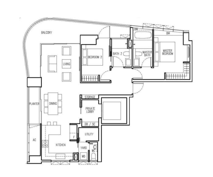 New Future Floor Plan 2 Bedroom A2
