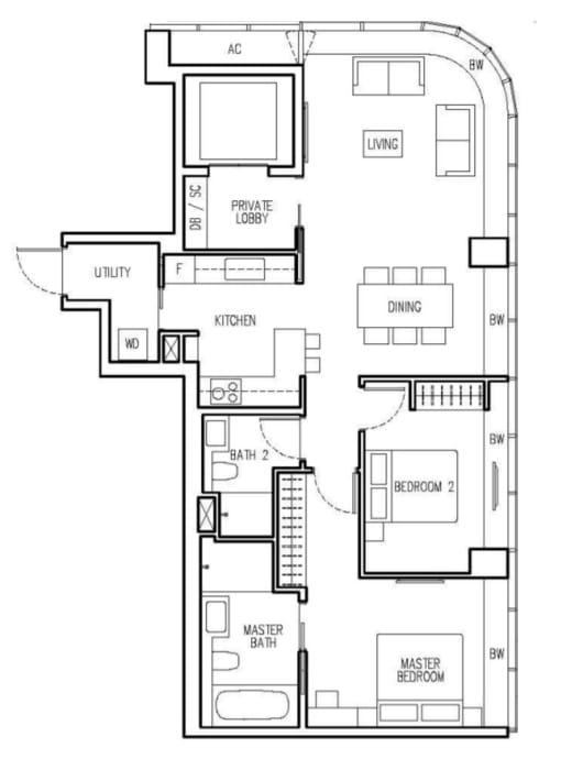 New Future Floor Plan 2 Bedroom A1