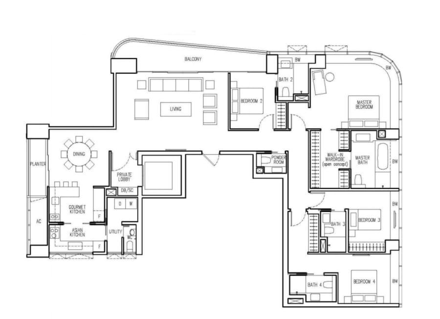 New Future Floor Plan 4 Bedroom C1