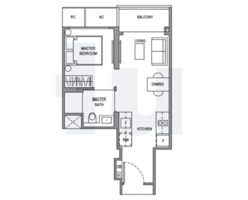 Parc Botannia Floorplan 1 bedroom b