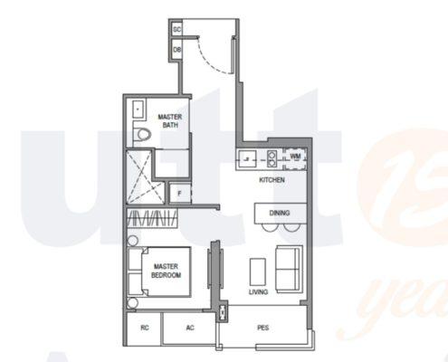 Parc Botannia Floorplan 1 bedroom a