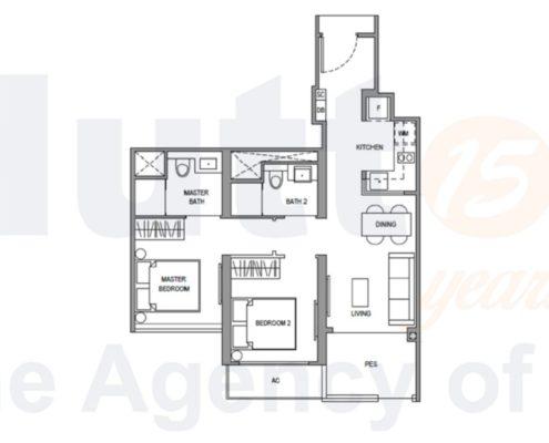 Parc Botannia Floorplan 2 Bedroom study