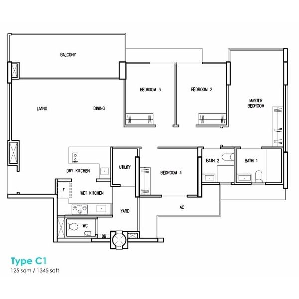 Treasure Crest Floorplan 4 Bedroom