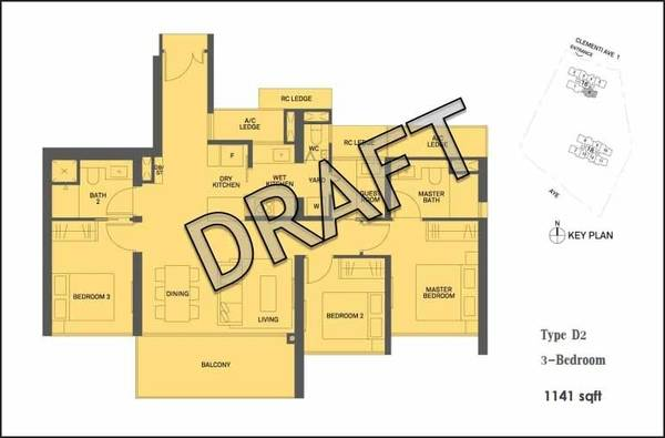 3 Bedroom 1141sqft Floor Plan Clement Canopy Condo