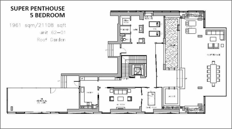 Wallich Super Penthouse Floor Plan Roof Garden