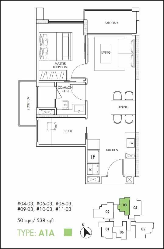 12 on Shan Floor Plan 1+Study