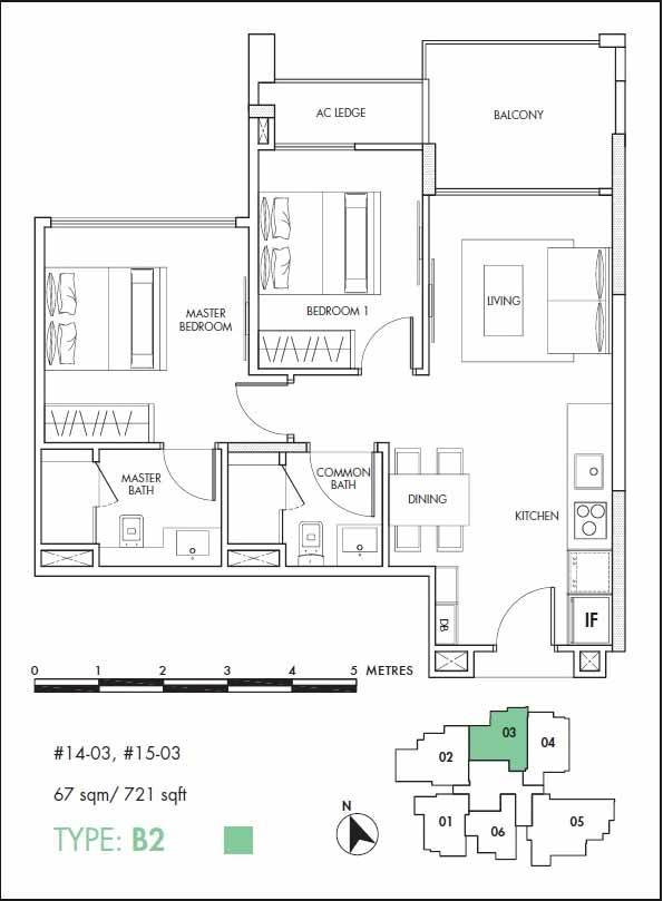 12 on Shan Floor Plan 2 Bedroom