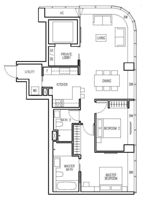 New Future Floor Plan 2 Bedroom A1