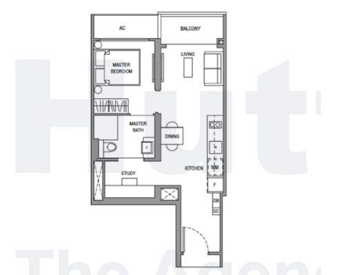 Parc Botannia Floorplan 1 bedroom study