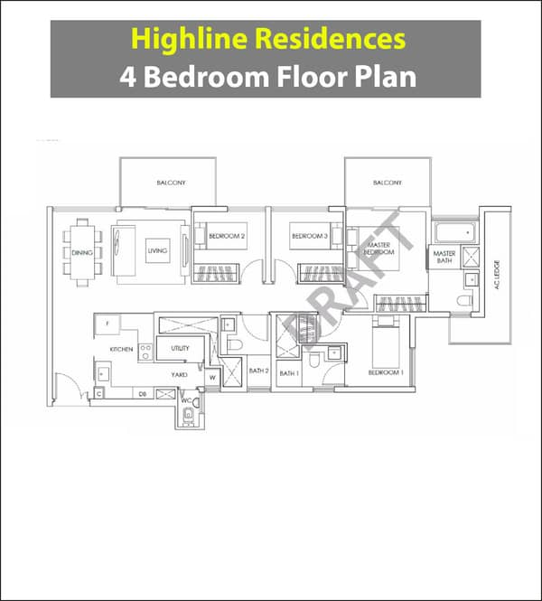 Highline Residences Floor Plan 4 Bedroom