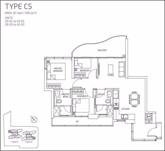 Queens Peak Floor Plan 3 Bedroom