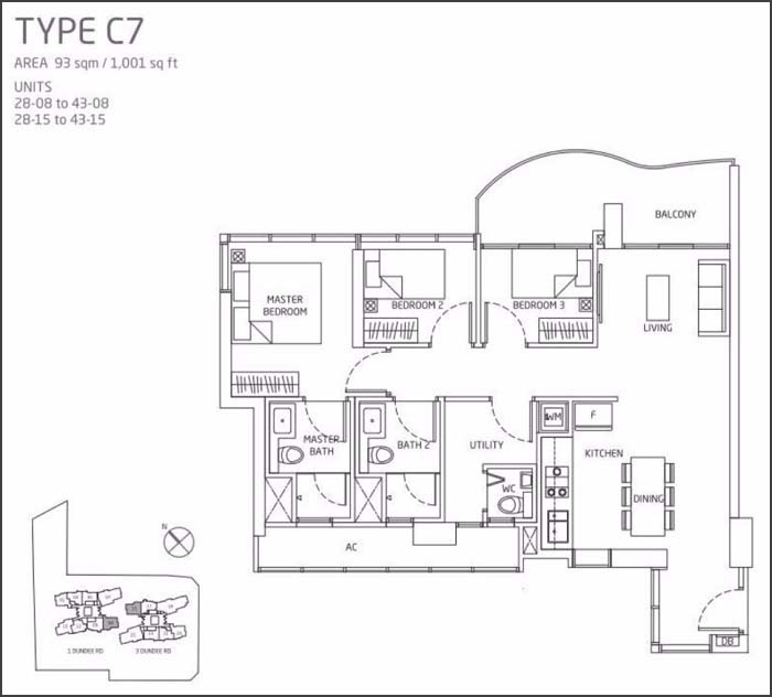 Queens Peak Floor Plan 3 Bedroom C7