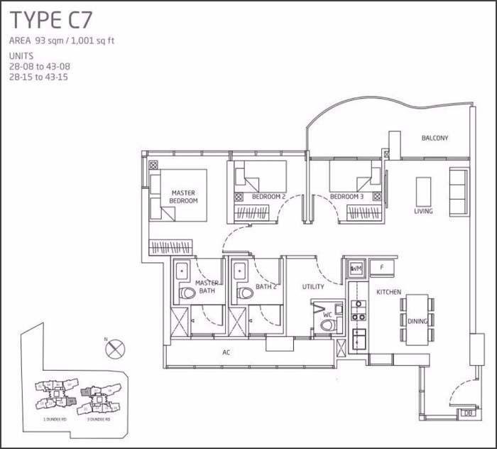 Queens Peak Floor Plan 3 Bedroom C7