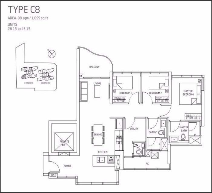 Queens Peak Floor Plan 3 Bedroom + Utility C8