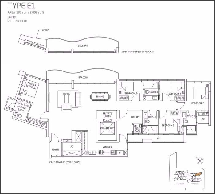Queens Peak Floor Plan 5 Bedroom + Utility E1
