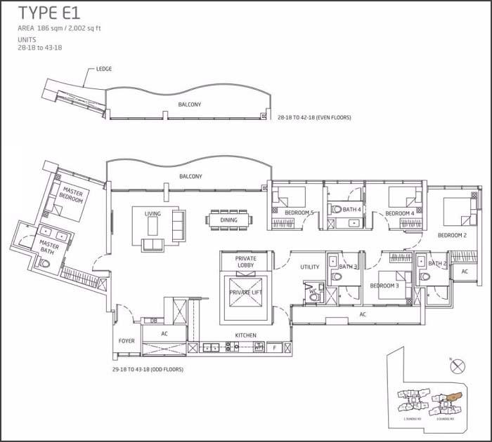 Queens Peak Floor Plan 5 Bedroom + Utility E1