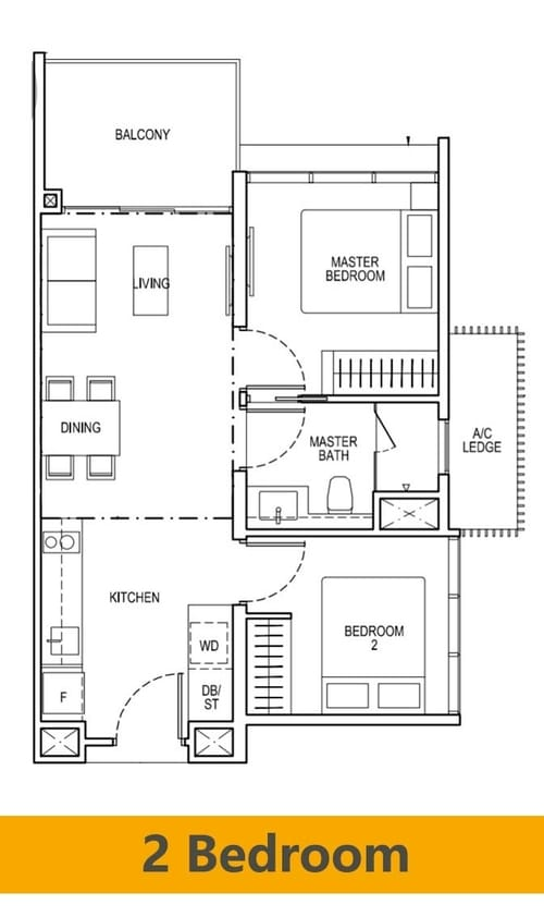 The tapestry condo at tampines by cdl 70 of released for Condo floor plans 2 bedroom