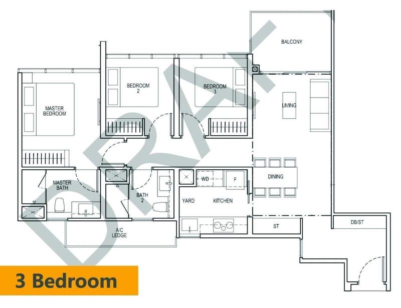 Tapestry condo floor plan 3 Bedroom