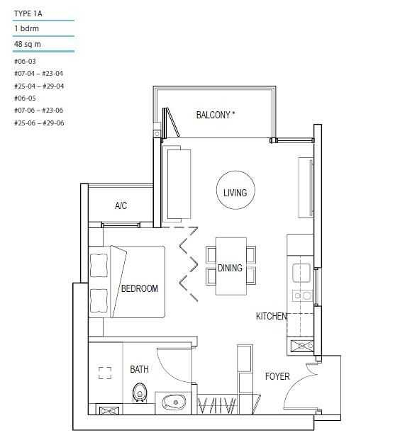 Kallang Riverside Floor Plan 1 Bedroom