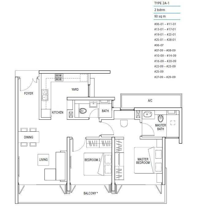 Kallang Riverside Floor Plan 2 Bedroom
