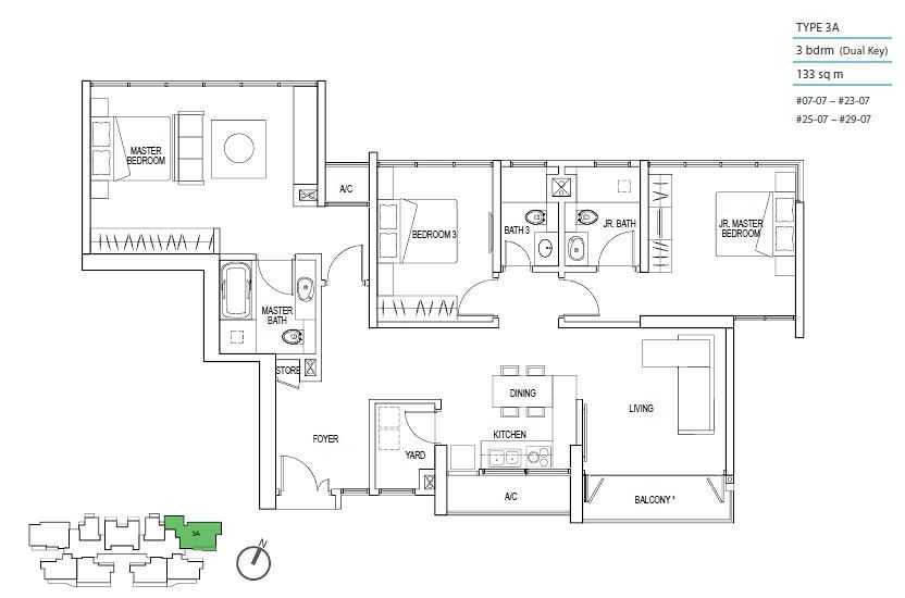 Kallang Riverside Floor Plan 3 Bedroom Dual Key