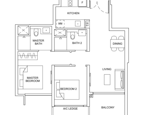 Striling Residences Floorplan 2 Bedroom Premium