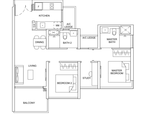 Striling Residences Floorplan 1 Bedroom