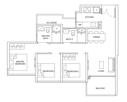 Striling Residences Floorplan 3 Bedroom Premium
