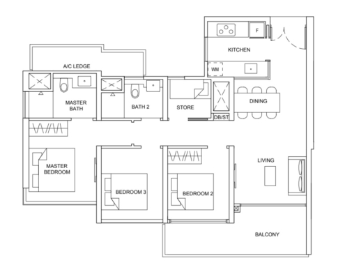 Striling Residences Floorplan 3 Bedroom + Utility