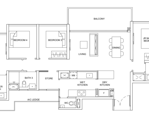Striling Residences Floorplan 4 Bedroom