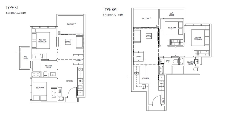 Riverfront Residences Floor Plan 2 Bedroom