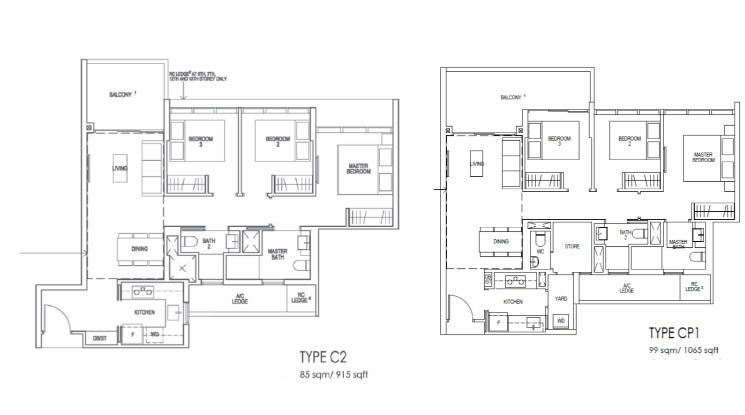 Riverfront Residences Floor Plan 3 Bedroom