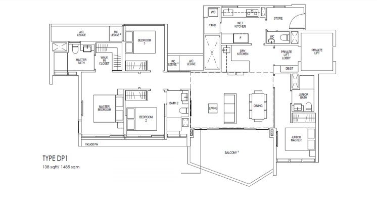 Riverfront Residences Floor Plan 4 Bedroom (2)