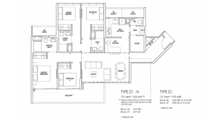 Riverfront Residences Floor Plan 4 Bedroom