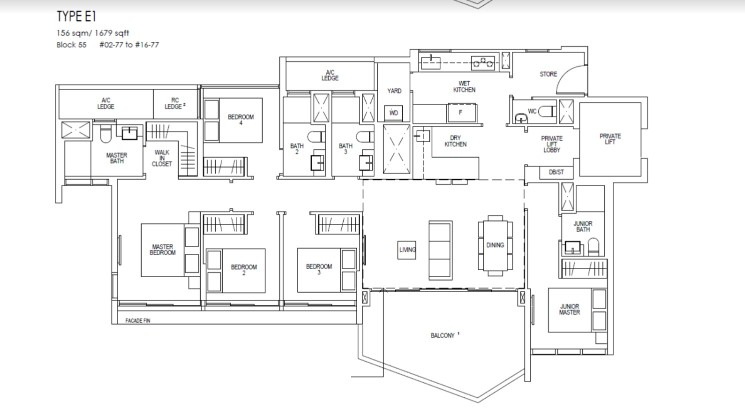 Riverfront Residences Floor Plan 5 Bedroom