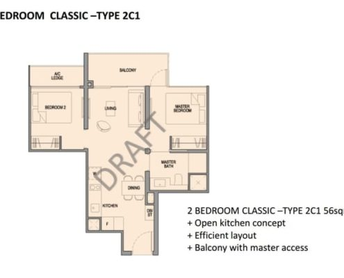 Park Colonial Floor Plan 2 Bedroom
