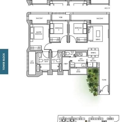 The Tre Ver condo floor plan 3 bedroom