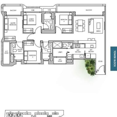 The Tre Ver condo floor plan 4 bedroom