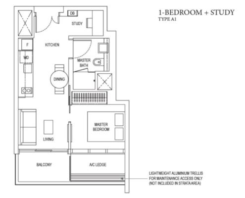 Amber Park Floor Plan 1+Study