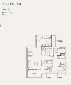 Avenir Condo Floor Plan 2 Bedroom A
