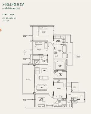 Avenir Condo Floor Plan 3 Bedroom (Private Lift)