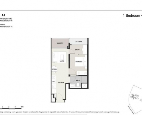 Clavon Condo Floor Plan 1 plus study