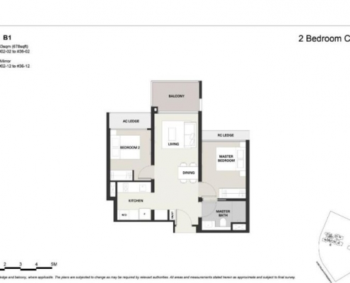 Clavon Condo Floor Plan 2 Bed 1 Bath (Type B1)